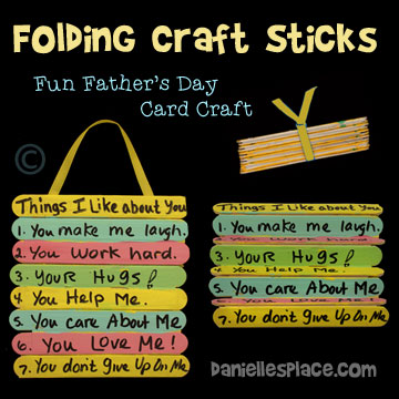 Show Dad how much you love him this Father's Day with this fun Folding-Craft Stick Card. Parents can help young children write things they love about dad after they paint or color the folding craft stick canvas. You can find directions for this craft on www.daniellesplace.com