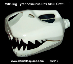 Dinsaur Skull Craft for Kids Made from a Milk Carton www.daniellesplace.com