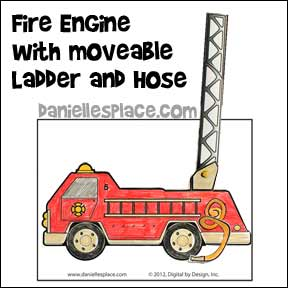 fire engine with extendable ladder and hose bible craft from www.daniellesplace.com