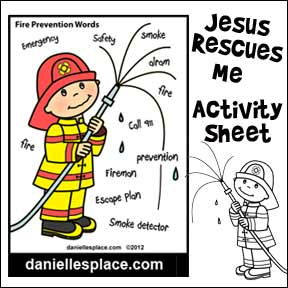 Fire Prevention Coloring and Activity Sheet for Kids www.daniellesplace.com
