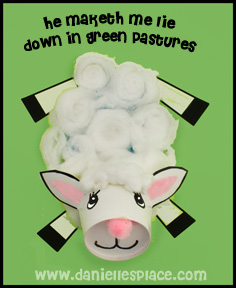 """He Maketh me Lie Down in Green Pastures"" Bible Cup Craft for Sunday School"