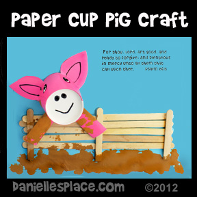 Parable of the Prodigal Son Pig and Pig Pen Paper Cup and Craft Stick Craft for Sunday School www.daniellesplace.com