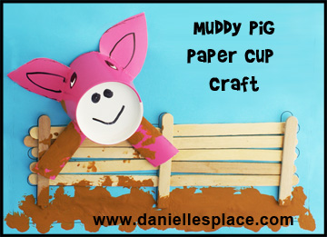 Pig Paper Cup and Craft Stick Craft Kids Can Make www.daniellesplace.com