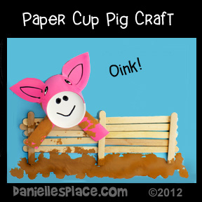 Pig Paper Cup Craft and Activity Sheet from www.daniellesplace.com
