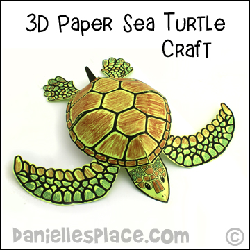 Sea Turtle Craft - 3D Paper Sea Turtle Craft from www.daniellesplace.com