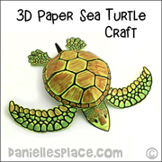 3D Paper Sea Turtle craft