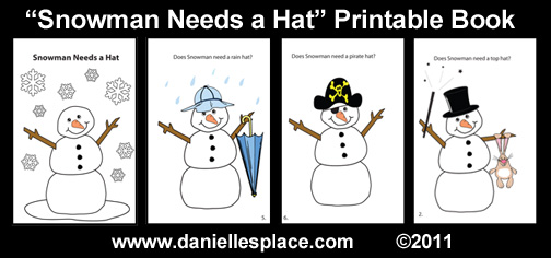 Snowman-needs-a-hat-printable-book www.daniellesplace.com