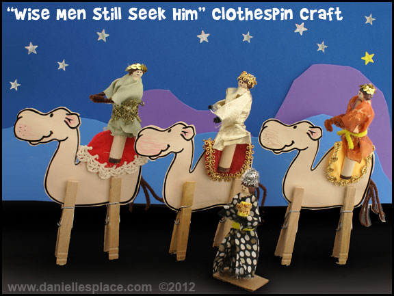 Wise Men Still Seek Him Clothespin Men and Camels Display www.daniellesplace.com