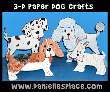 Dog Craft- 3D Folded Paper Dogs Kids Can Make on www.daniellesplace.com