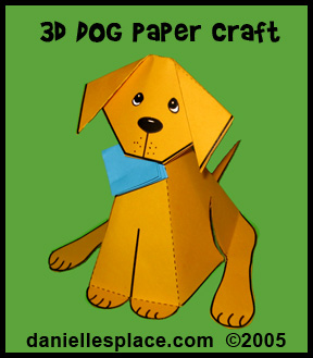 3D Paper Dog Craft Kids Can Make www.daniellesplace.com