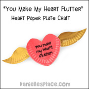 Paper Plate Heart with Wings Craft Kids Can Make www.daniellesplace.com