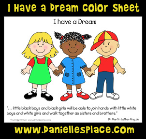 I have a Dream  Martin Luther King Jr. Coloring Sheet www.daniellesplace.com