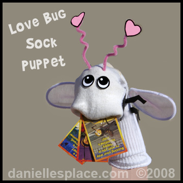 Love Bug Valentine's Day Sock Puppet www.daniellesplace.com