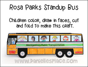 Free sunday school lesson for children martin luther for Rosa parks bus coloring page
