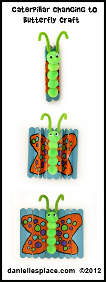 Caterpillar Changing to a Butterfly Craft Kids Can Make www.daniellesplace.com