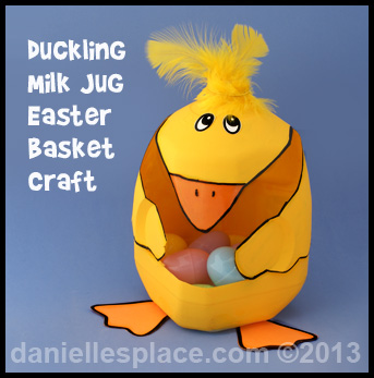 Duckling Easter Basket Milk Jug Craft Kids Can Make - Easter Craft www.daniellesplace.com