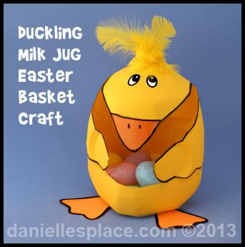 Easter crafts for kids duckling easter basket milk jug craft kids can make easter craft daniellesplace negle Image collections