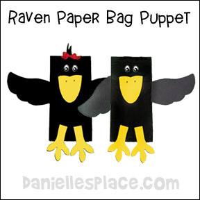 Crow or Raven Paper Bag Puppet from www.daniellesplace.com
