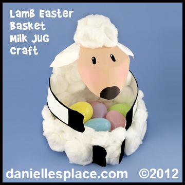 Lamb Easter Basket Milk Jug Craft Kids Can Make www.daniellesplace.com