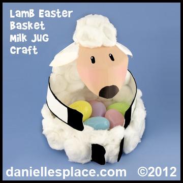Easter crafts for kids easter craft lamb easter basket milk jug craft kids can make daniellesplace negle Choice Image