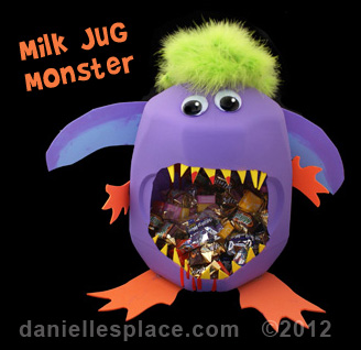 milk jug monster treat container craft kids can make wwwdaniellesplacecom