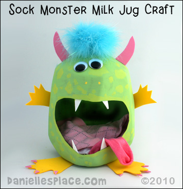 Sock Monster Milk Jug Caddy Craft Kids Can Make www.daniellesplace.com