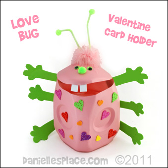 Valentine Box Card Holder - Milk Jug Love Bug Valentine Box www.daniellesplace.com