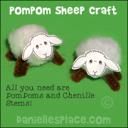 Pompom sheep craft and game playing pieces for Psalm 23 Bible Lesson from www.daniellesplace.com