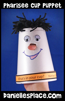 Pharisee Cup Puppet Bible Craft for Sunday School