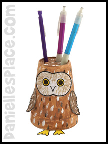 Owl Paper Cup Pencil Holder Craft