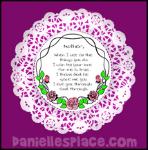 Doily Mother's Day Poem Bible Craft for Sunday School www.daniellesplace.com
