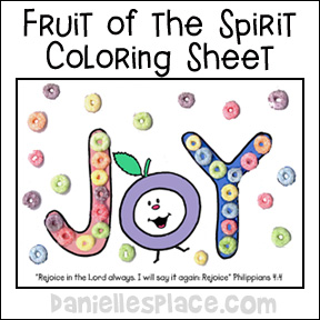Fruit of the Spirit Activity Sheet www.daniellesplace.com