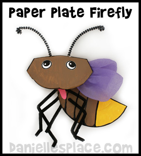 Firefly Lightening Bug Paper Plate Craft Kids Can Make from www.daniellesplace.com
