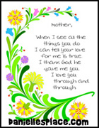 Mother's Day Poem Color Sheet from www.daniellesplace.com