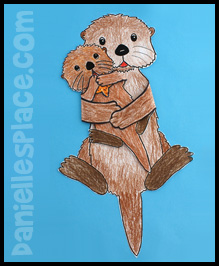 Sea Otter Mother and Baby Paper Toy www.daniellesplace.com