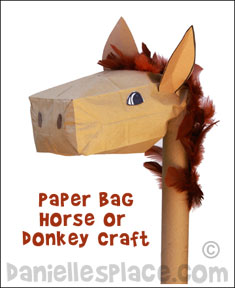 Paper Bag Stick Donkey Craft www.daniellesplace.com
