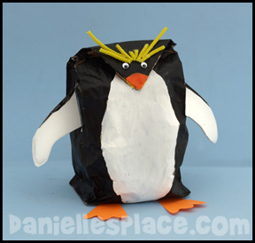 Macroni Penguin Paper Bag Craft www.daniellesplace.com
