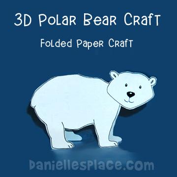 Folded Paper Polar Bear Craft For Kids