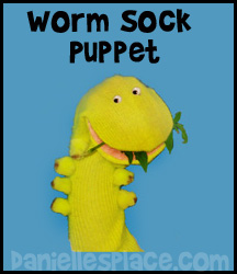 Tomato Worm Sock Puppet Craft for Sunday School www.daniellesplace.com