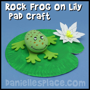 Frog on Lily Pand Rock Craft from www.daniellesplace.com