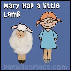 Mary Had a Little Lamb Craft from www.daniellesplace.com