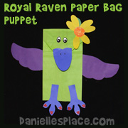 Royal Raven Paper Bag Puppet Craft from www.daniellesplace.com