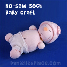No Sew Sock Baby Craft for Kids www.daniellesplace.com