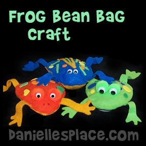 Frog Bean Bag Craft for Moses Bible Lesson on the Plagues of Egypt from www.daniellesplace.com