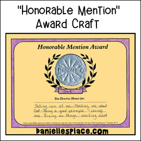 Honorable Father Award Bible Craft for Sunday School www.daniellesplace.com