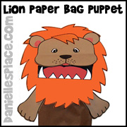 Lion Paper Bag Craft from www.daniellesplace.com