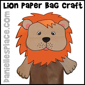 Lion Paper Bag Craft for Kids from www.daniellesplace.com