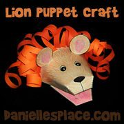 Lion Paper Puppet Craft from www.daniellesplace.com