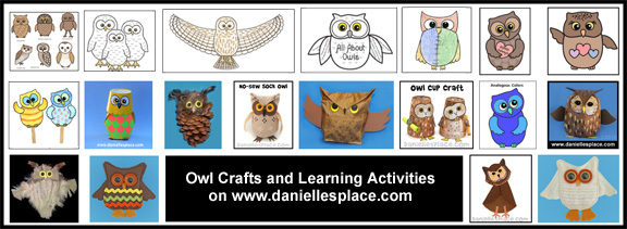 Owl Crafts and Learning Activities for Children on www.daniellesplace.com www.daniellesplace.com