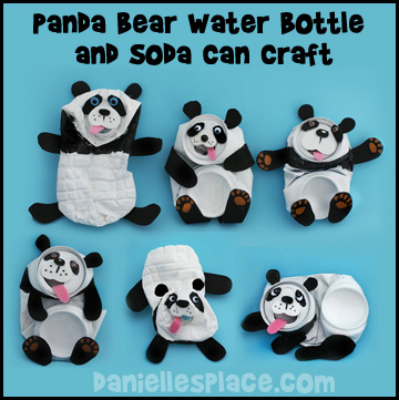 Panda Bear Craft Water Bottle and Soda Can Recycle Craft from www.daniellesplace.com www.daniellesplace.com